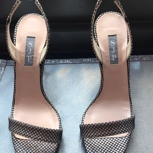 SJP Black snd Rose Gold Mesh 39.5 Heel
